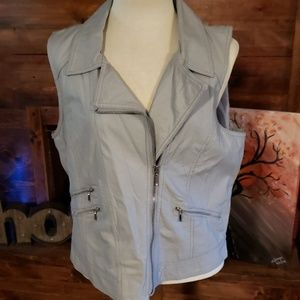 Maurices light grey pleather moto vest NWT
